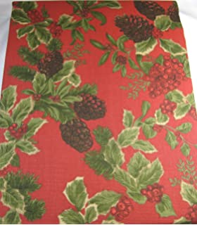 Ralph Lauren Holiday Birchmont Tablecloth Holly Berries And Pine Cones 100%  Cotton 60 X 104