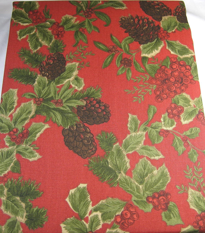 60-by-104 Inch Oblong Rectangular Ralph Lauren Home Ralph Lauren Birchmont Red on Red Background Tablecloth