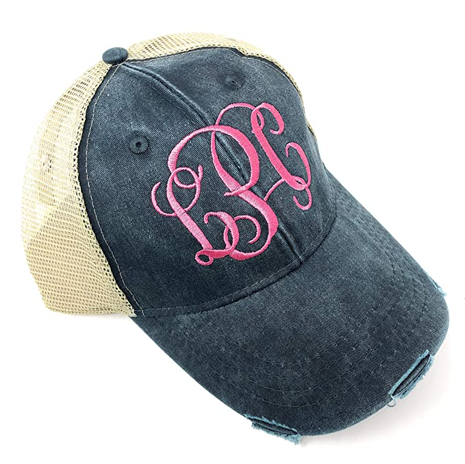 80a08c2f2 Custom Embroidered Monogrammed Distressed Trucker Hat (Ollie Blue ...