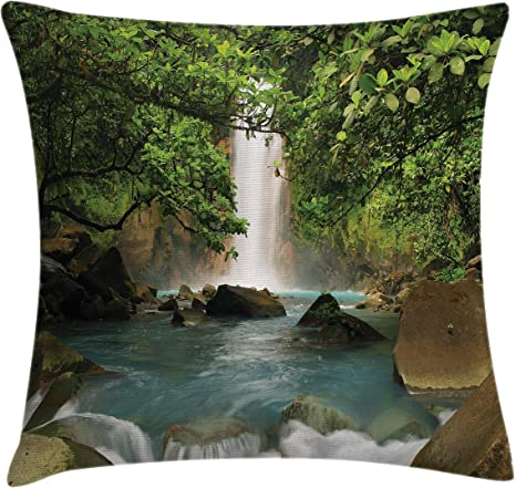 Amazon Com Ambesonne Waterfall Throw Pillow Cushion Cover Majestic Cascade Down To River Deep Down In The Forest Natural Wonders Photo Decorative Square Accent Pillow Case 24 X 24 Green Blue Home