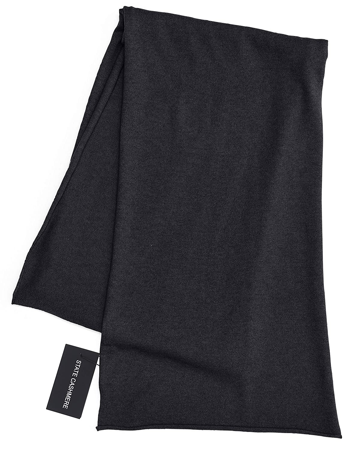 Black State Cashmere 100% Cashmere Solid color Scarf Wrap, Soft and Cozy 80 x13.5