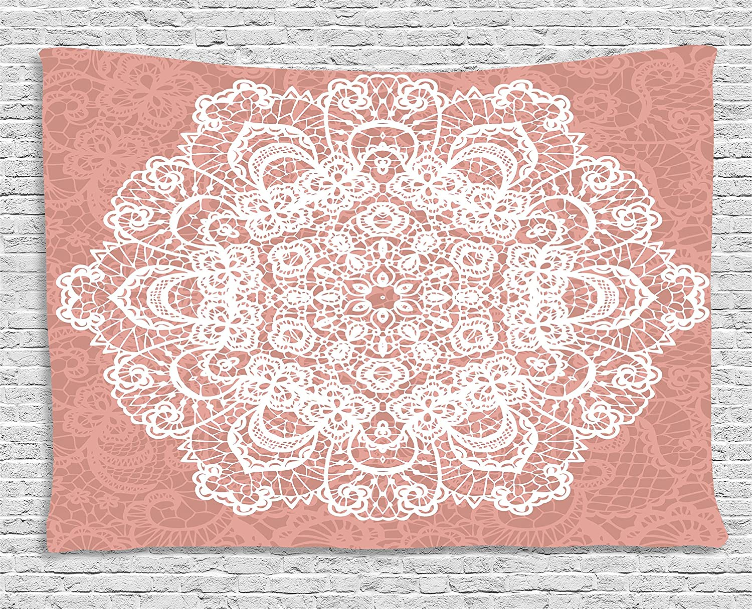 Ambesonne Mandala Tapestry Dried Rose White 60 W X 40 L Inches Wall Hanging for Bedroom Living Room Dorm Lace Style Vector Mandala Vintage Abstract Floral Ornamental Design Print