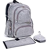 YaYa's Unisex Diaper Bag Backpack - New Handmade Design by Gracefully YaYa with Stroller Straps, Changing Pad, Insulated Pockets and a Laptop Sleeve.