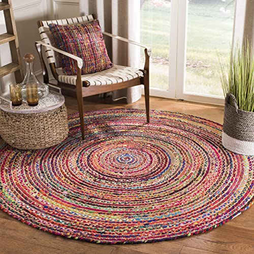 Safavieh Cape Cod Collection CAP702Q Hand-Woven Area Rug, 6 x 6 Round, Red Multi