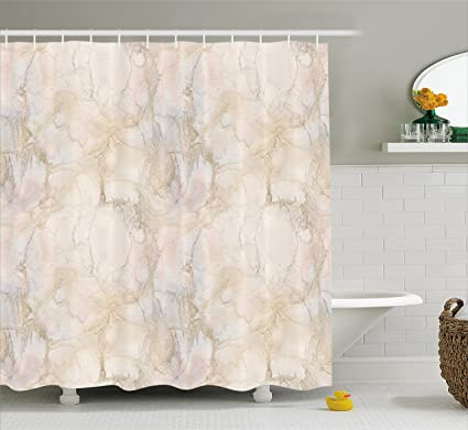 Ambesonne Marble Shower Curtain Pink And Peach Background With Crack Patterns Architecture Building