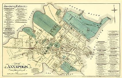 Amazon.com: Old City Map - Annapolis Maryland Landowner - 1878 ... on