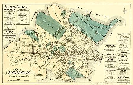 ANNAPOLIS MARYLAND (MD) LANDOWNER MAP 1878-Matte Bright ...