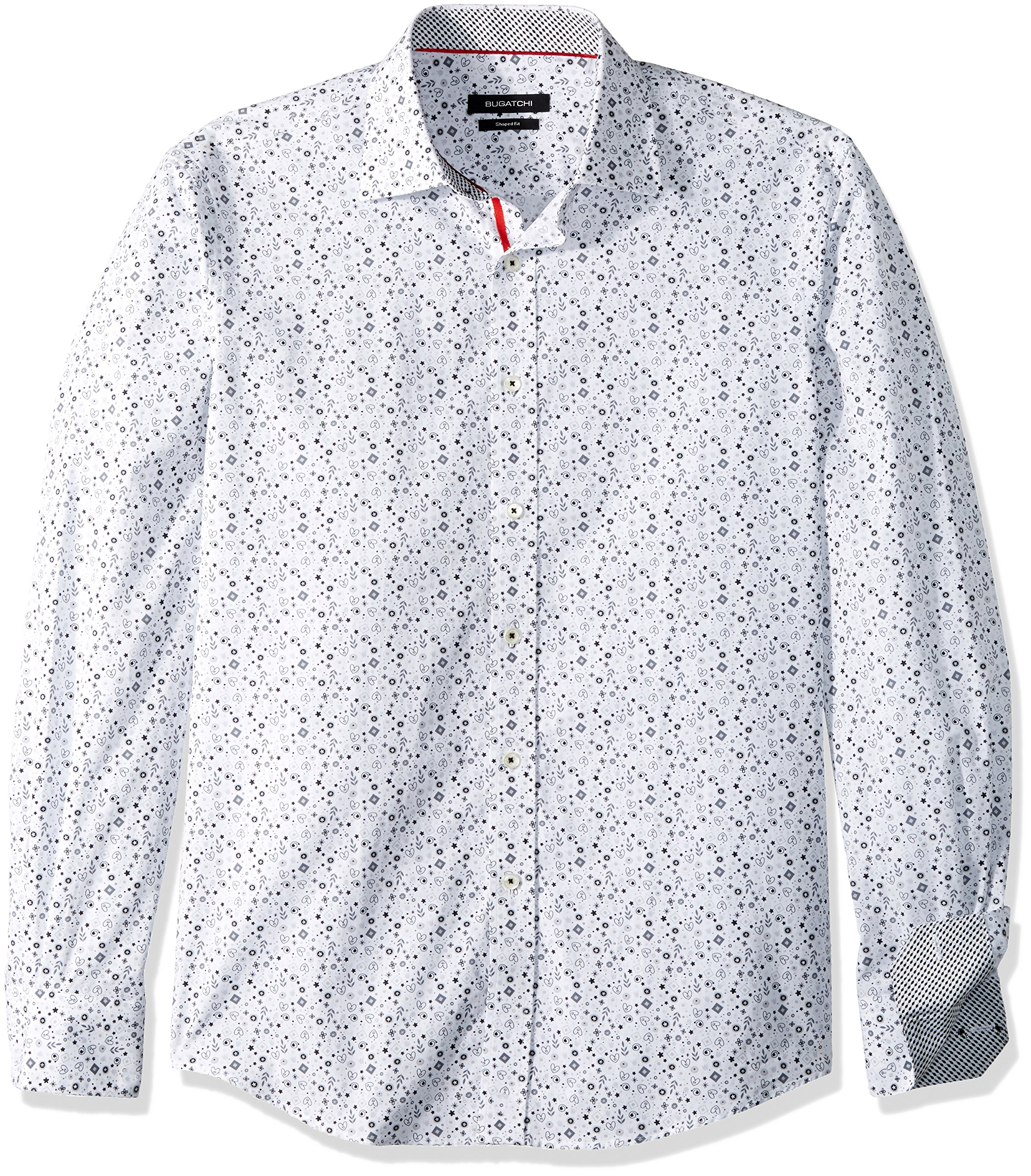Bugatchi Men's Cotton Slim Fit Button Down Shirt, White, XL