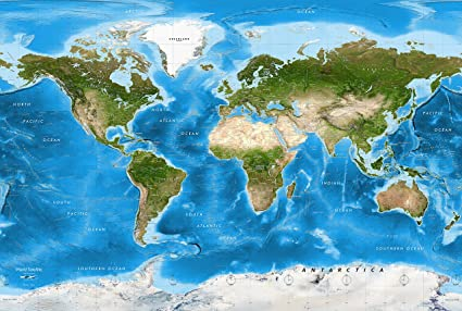 Map Of The World Satellite.Academia Maps World Map Wall Mural Detailed Satellite Image Blue