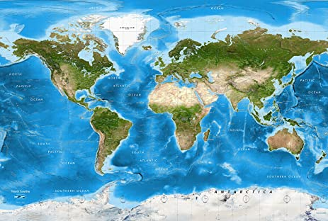 Academia Maps World Map Wall Mural Detailed Satellite Image - Earth maps satellite view