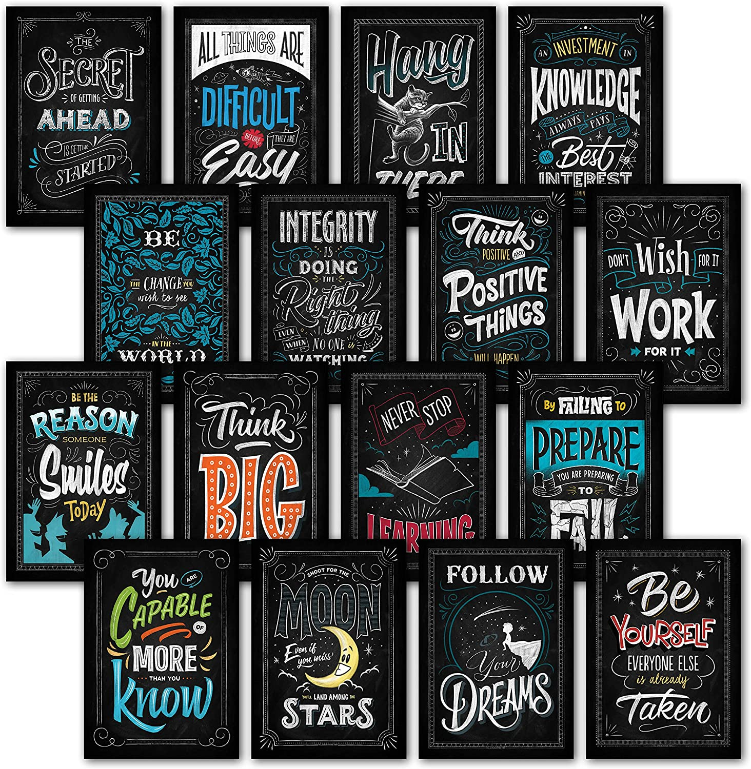 Palace Learning 16 Laminated Motivational Classroom Wall Posters - Inspirational Quotes for Students - Teacher Classroom Decorations 13 x 19 (LAM) 001
