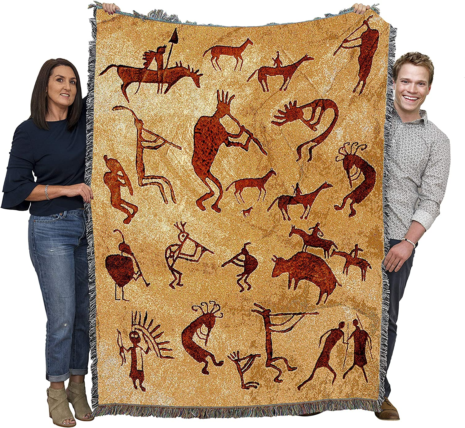 Pure Country Weavers Kokopelli Petroglyphs - Southwest Cave Rock Art Blanket Throw Woven from Cotton - Made in The USA (72x54)