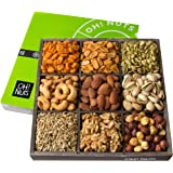 Oh! Nuts Holiday Nuts Gift Basket, 9 Variety Mixed Nut Assortment Wood Tray Baskets, Gourmet Christmas Roasted Healthy…