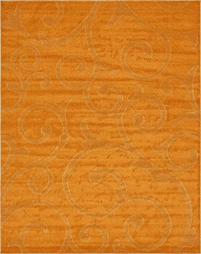 Unique Loom Floral Frieze Collection Modern Floral Vines Orange Area Rug 8 0 x 10 0