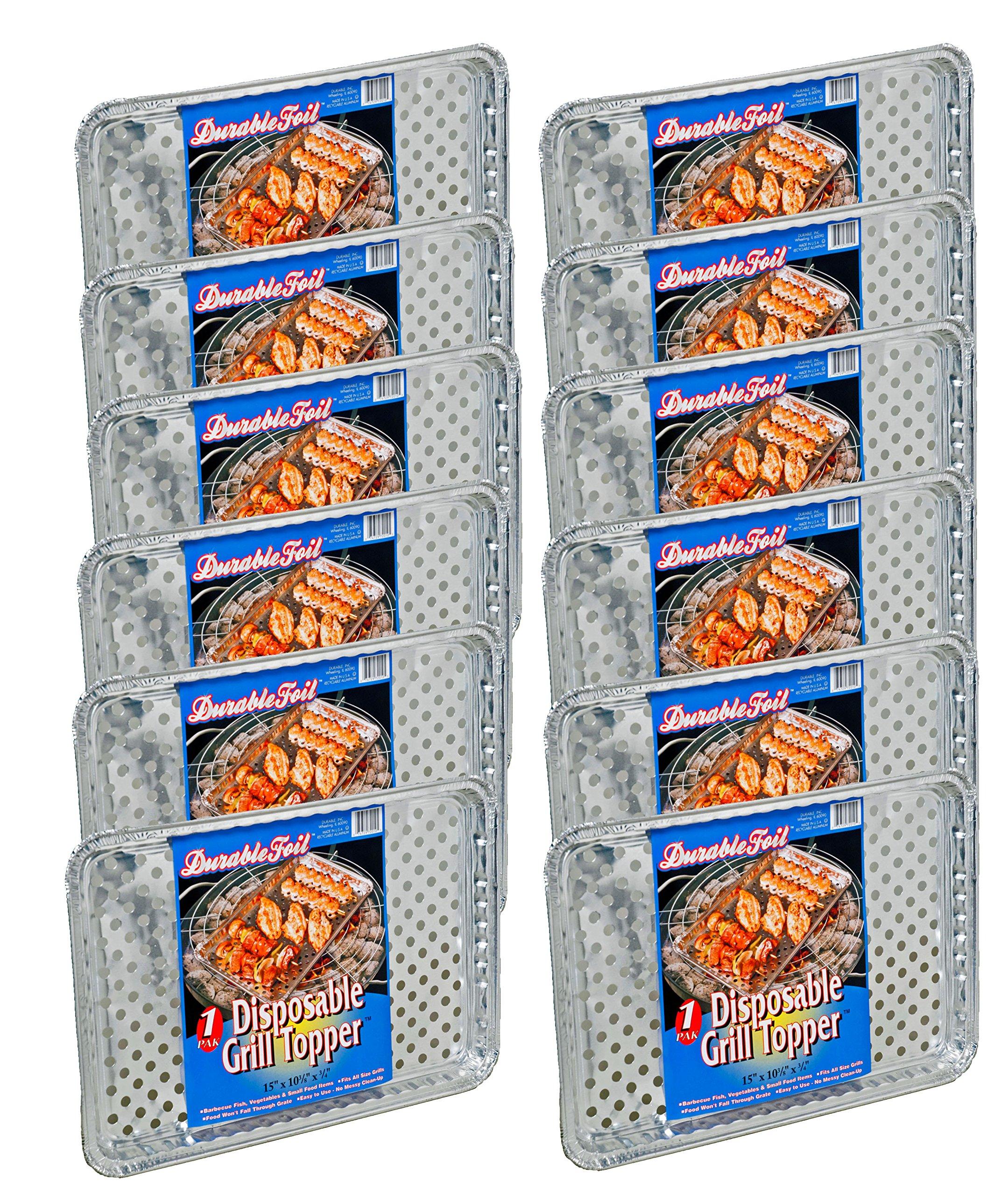 Set of 12 Durable Foil Disposable Deep Grill Topper Pans 11 3/4'' L x 9 1/4'' W x 1 1/2'' D