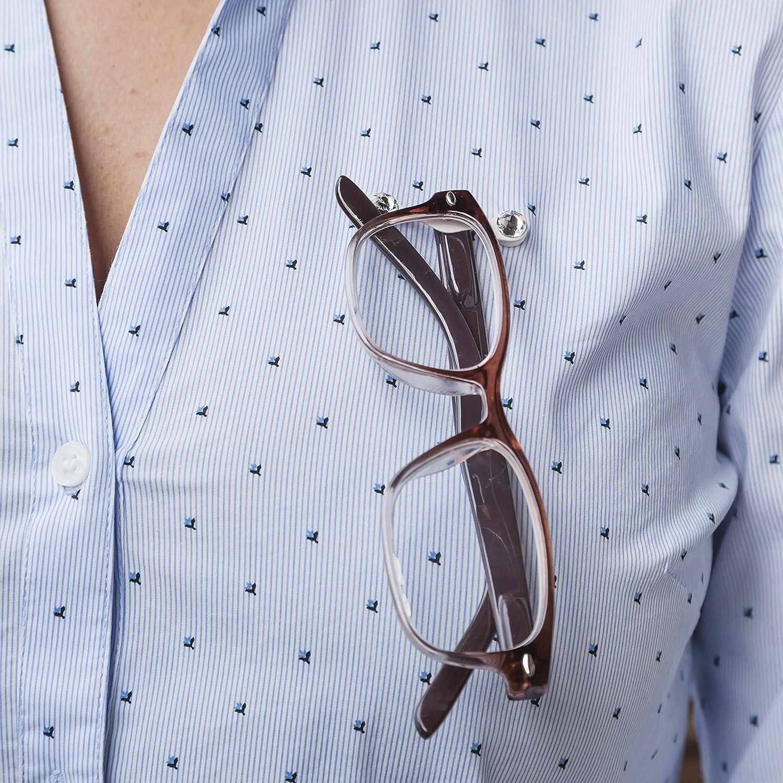 Readerest Magnetischer Brillenhalter Wei/ß mit klaren Kristallen hergestellt in den USA