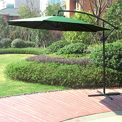 Cantilever Patio Umbrella Offset Beach Umbrella Outdoor UV Resistant Polyester 8 Steel Ribs Beach Hanging Offset