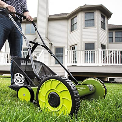 Sun Joe MJ501M Manual Reel Mower w/Grass Catcher | 18 inch