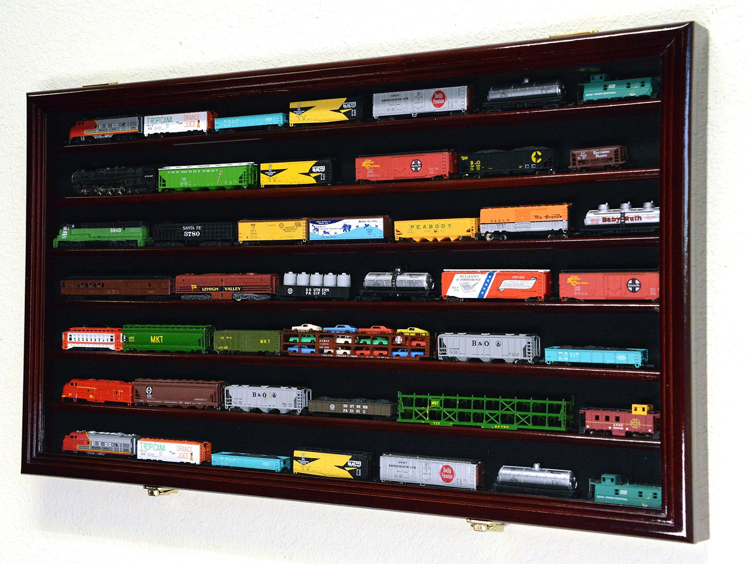 N Scale Train Model Trains Display Case Cabinet Wall Rack w/ 98% UV Lockable -Cherry