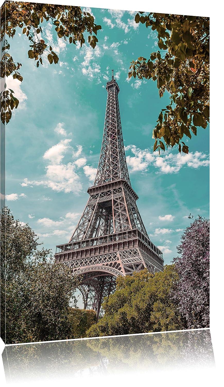 Eifelturm Paris Bild auf Leinwand, XXL riesige Bilder fertig gerahmt ...