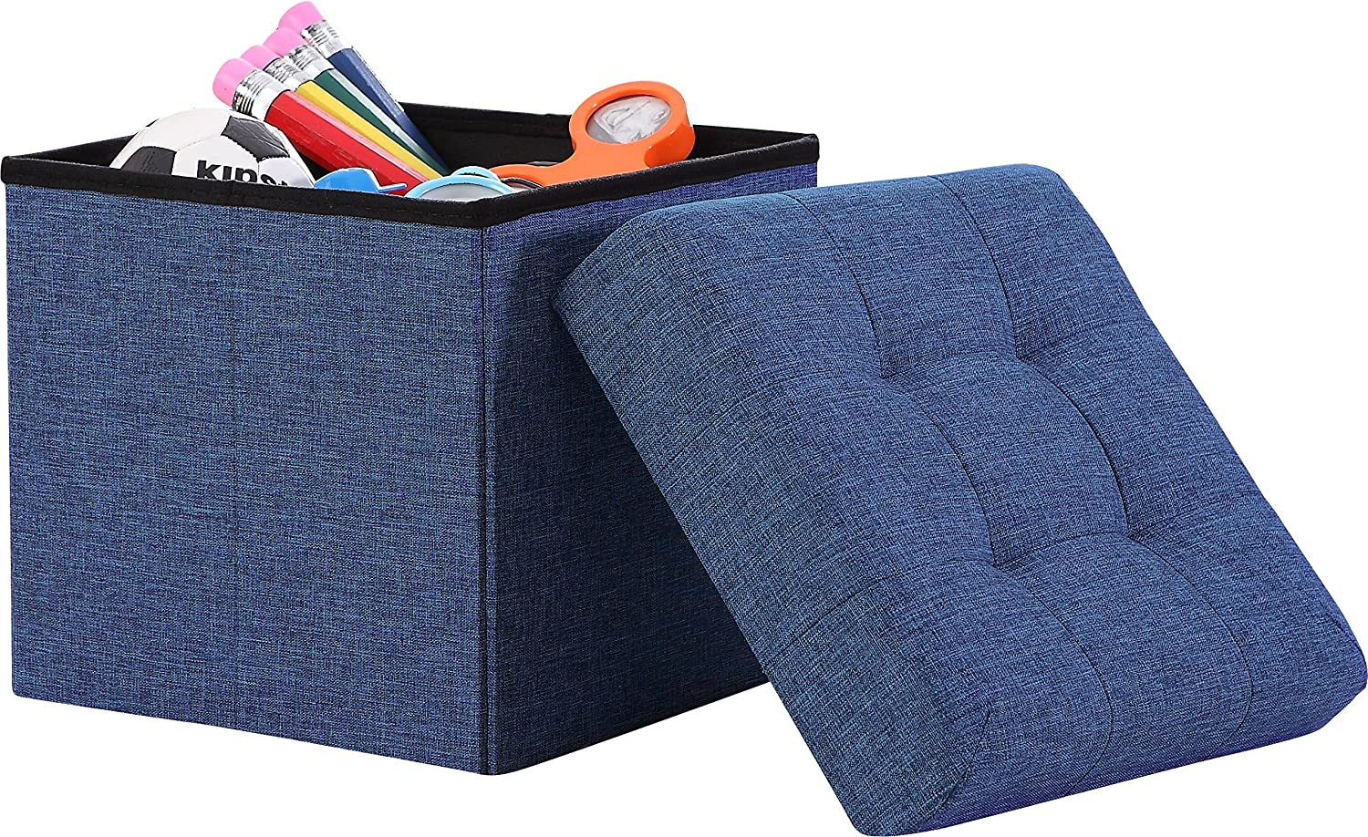 """Ornavo Home Foldable Tufted Linen Storage Ottoman Square Cube Foot Rest Stool/Seat - 15"""" x 15"""" x 15"""" (Navy)"""