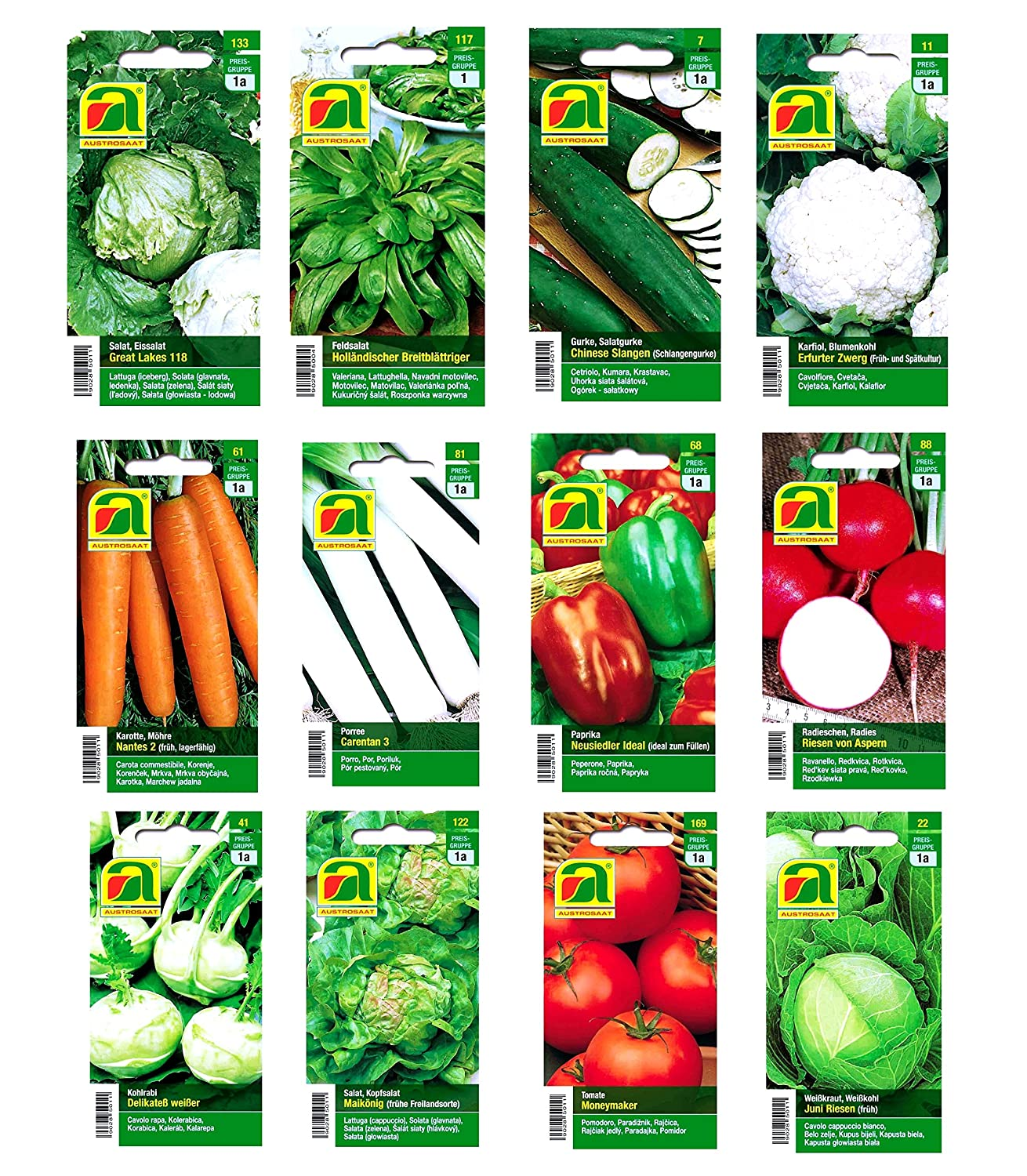 12 varieties | Vegetable seeds Assortment | over 14000 seeds | complete starter set | robust mixture | Just plant your own vegetables at home with our selected quality seeds Austrosaat