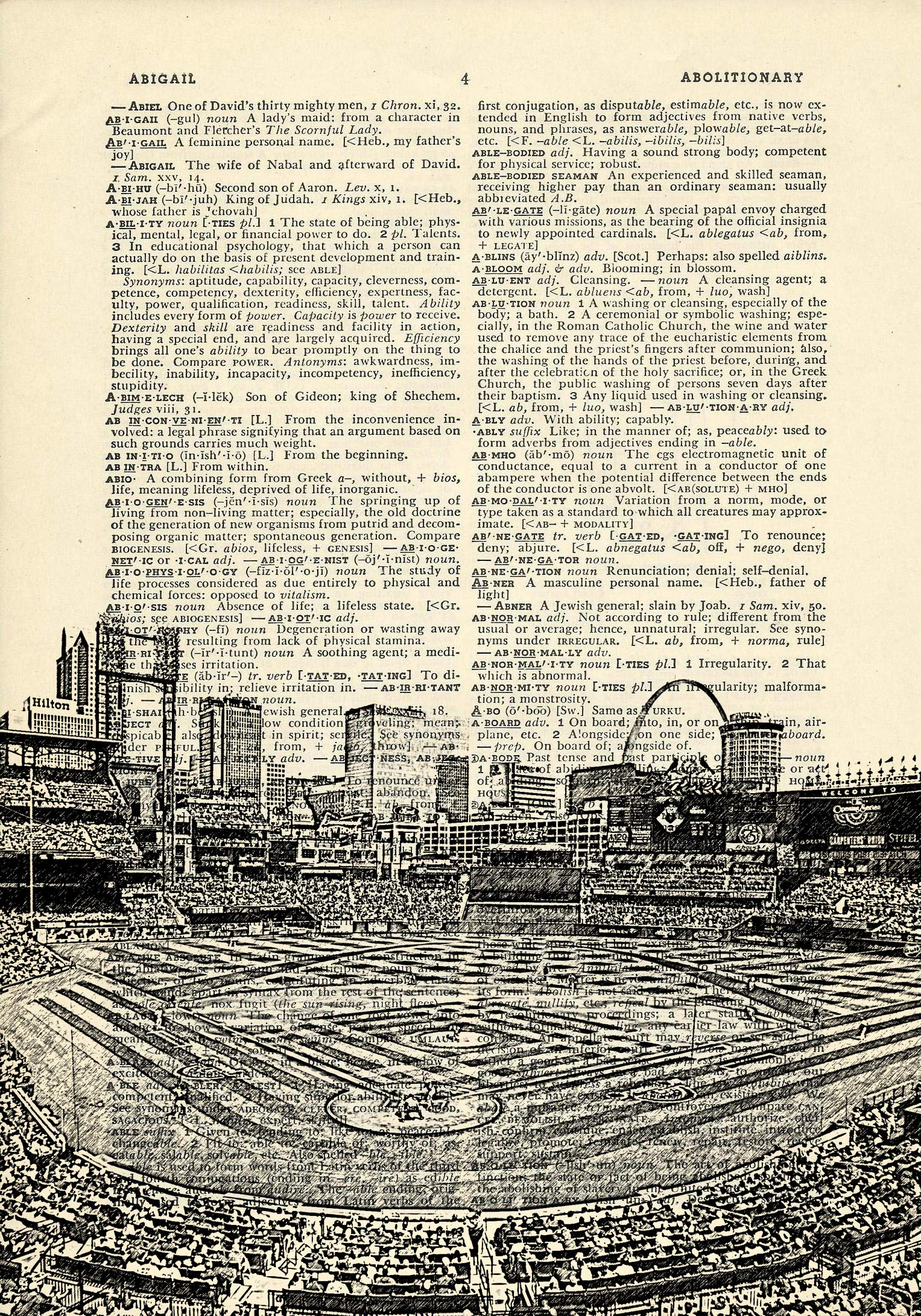 Busch Stadium Interior St Louis Cardinals Printed on Dictionary Paper by DarkIslandCity (Image #1)