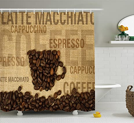 Amazon.com: Coffee Shower Curtain by Ambesonne, Coffee Beans Shaped ...
