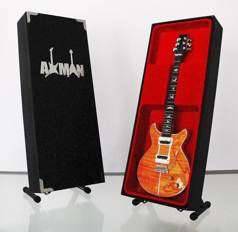 Miniature Guitar replica: Carlos Santana PRS se Santana arancione –  modello Mini Rock memorabilia replica in miniatura in legno Guitar & Free espositore (venditore UK) Axman