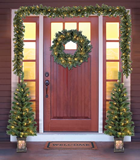 Holiday Time Christmas Decor Pre,Lit 5,Piece Entryway Set, Clear Lights