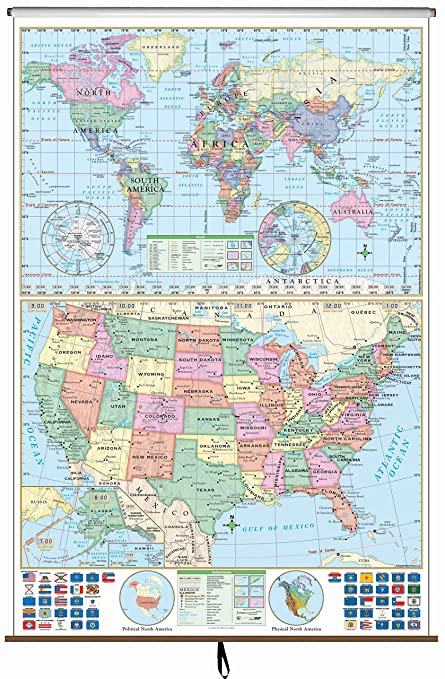 Amazon.com : US/World Stacked Wall Map on Roller : Office ...