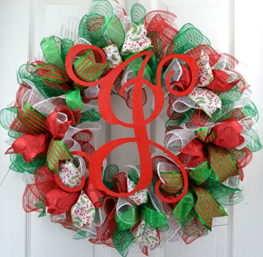 christmas mesh wreaths monogram christmas wreath red emerald green white front door wreath