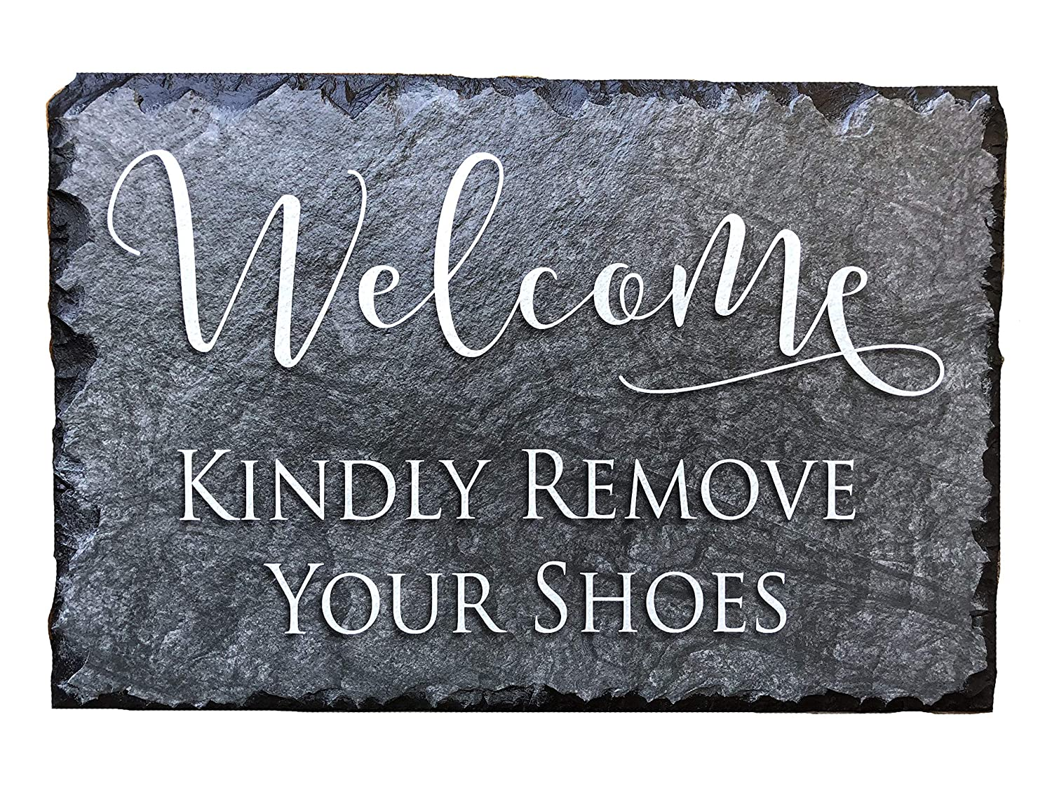 Sassy Squirrel Handcrafted Slate House Sign - Kindly Remove Your Shoes (12x8) Sassy Squirrel Ink 614405527293