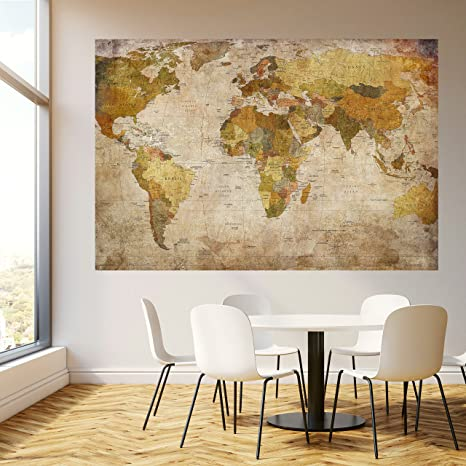 murimage Carta da Parati Mondo 183 x 127 cm Mappa Annata Storico ...