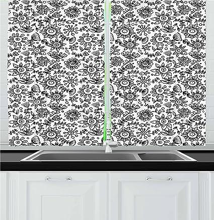 Black White Kitchen Curtains 2 Unique Decorating Ideas