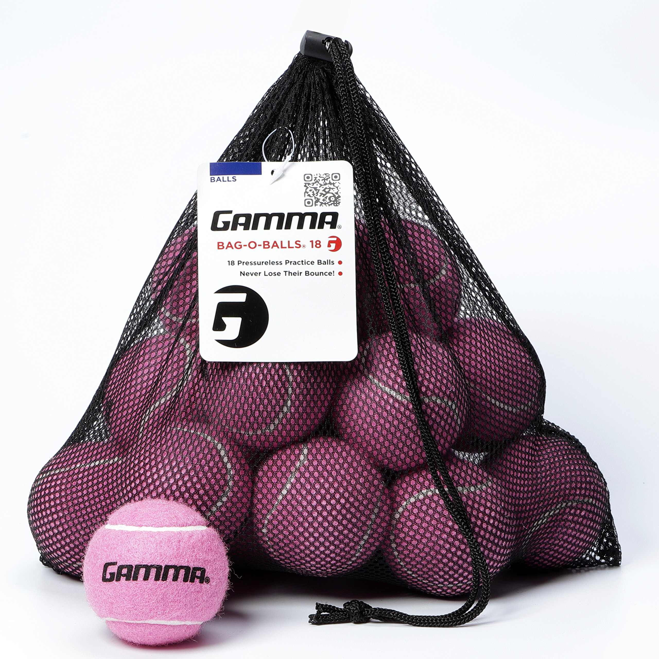 Gamma Bag of Pressureless Tennis Balls - Sturdy & Reuseable Mesh Bag with Drawstring for Easy Transport - Bag-O-Balls (18-Pack of Balls, Pink) by Gamma Sports
