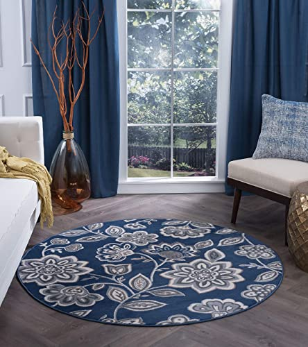 Emmalyn Transitional Floral Navy Round Area Rug, 5 Round