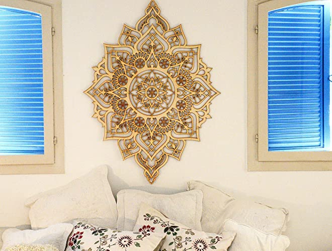 Amazon.com: Mandala Wood Wall Art, Home Decor, Morrocan Indian Art ...