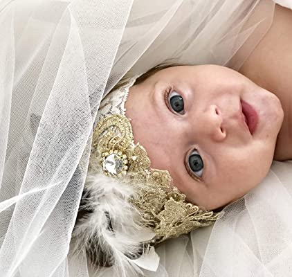 Gold Baby Girl Headbands Made By Yasmine | Unique white and gold infant Headband with feathers and a rhinestone | Girl's Hairbands for Newborn,Toddler and Childrens