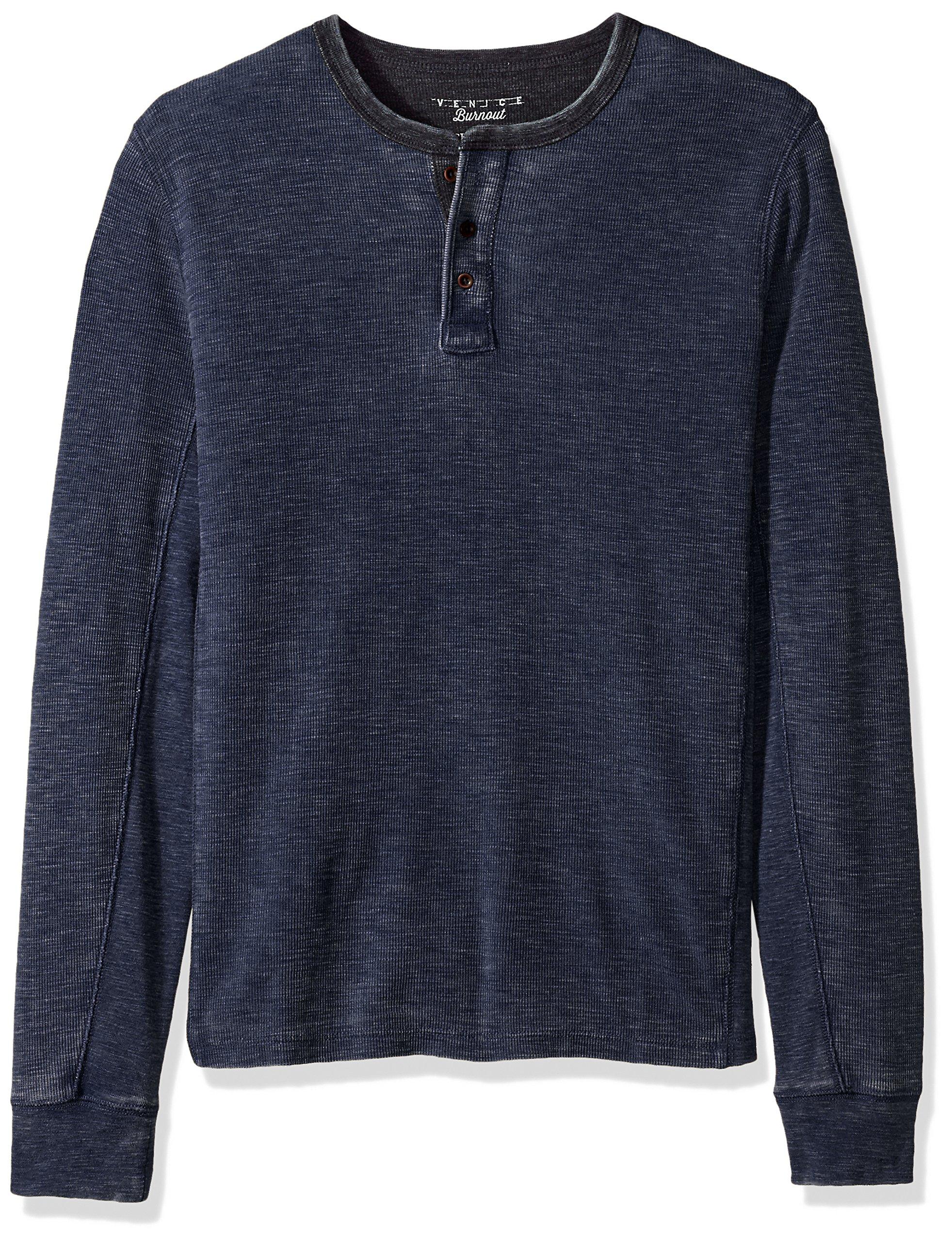 Lucky Brand Men's Venice Burnout Henley Shirt, Navy, L