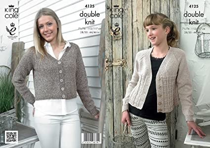 5234be896956 King Cole 4125 Knitting Pattern Cropped Raglan Cardigans to knit in King  Cole Authentic DK