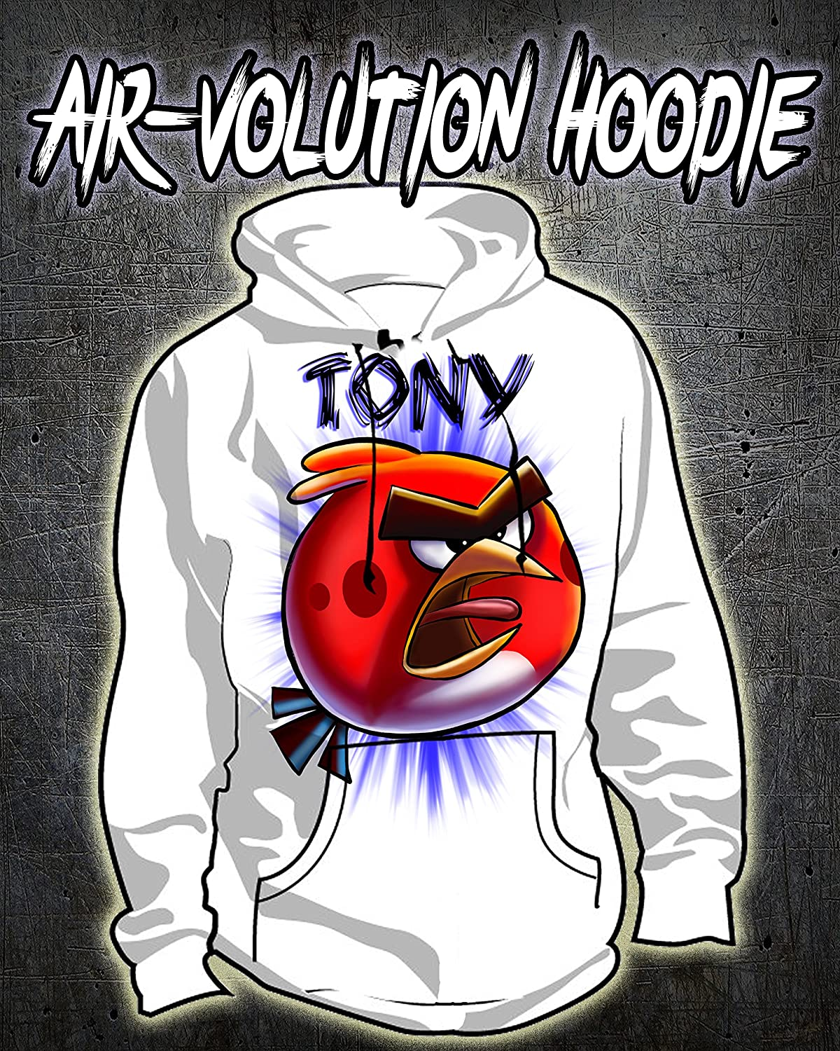 Personalized Airbrush Red Angry Bird Hoodie