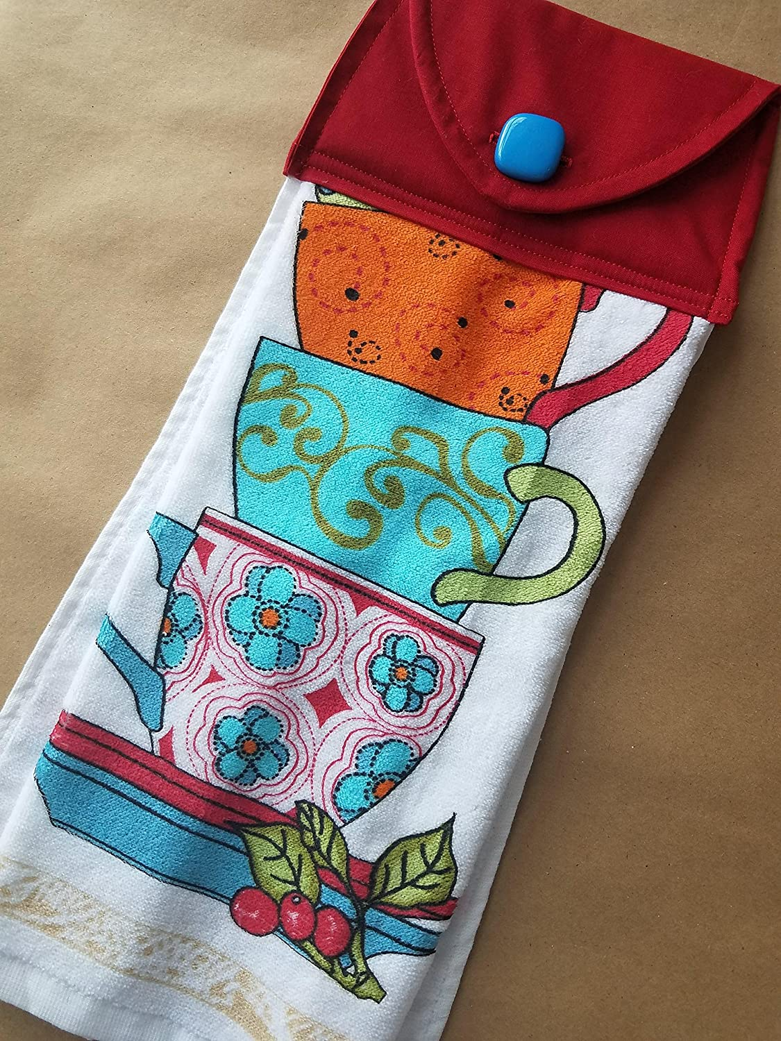 Amazon.com: Teacup Hanging Kitchen Towel, Vintage Inspired Button ...
