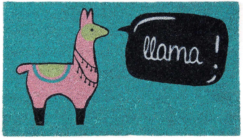 Fisura DM0693 Felpudo Original y Divertido Entrada Casa Rectangular 'Llama' 70 X 40cm, Antideslizante, PVC, Coco