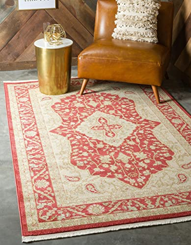 Unique Loom Edinburgh Collection Oriental Traditional French Country Red Area Rug 5' 0 x 8' 0