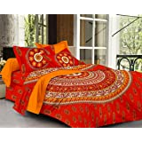 SheetKart Sapphire 120 TC Cotton Double Bedsheet with 2 Pillow Covers - Fine Red