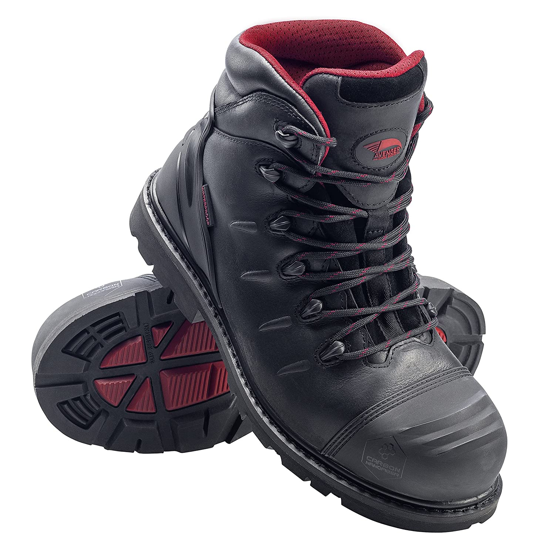 Black 11 6E US Avenger Safety Footwear Mens 6 Leather Carbon Nanofiber Comp Toe Waterproof Puncture Resistant EH Slip Resistant Boot