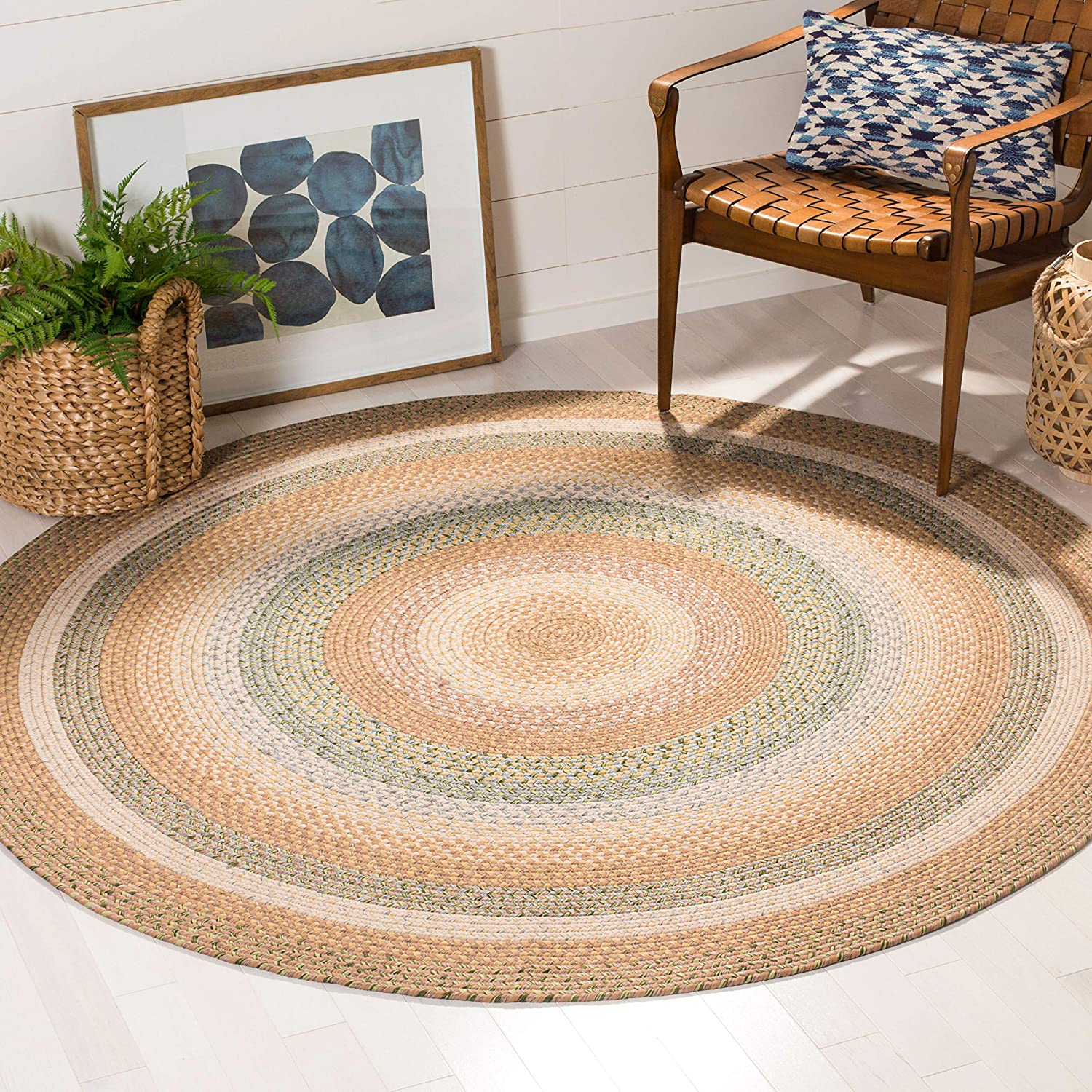Amazon Com Safavieh Braided Collection Brd314a Handmade Country Cottage Reversible Area Rug 6 X 6 Round Tan Multi Furniture Decor