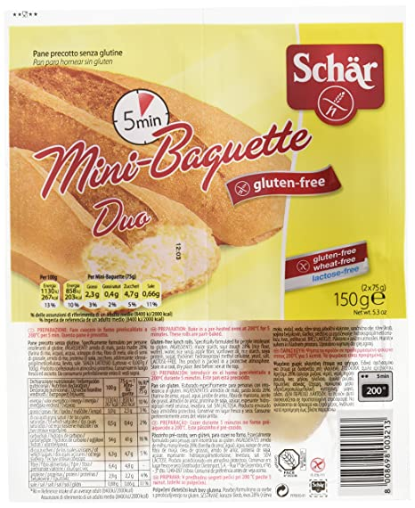 Dr. Schar Mini Baguette Pan - Paquete de 2 x 75 g - Total: 150 g