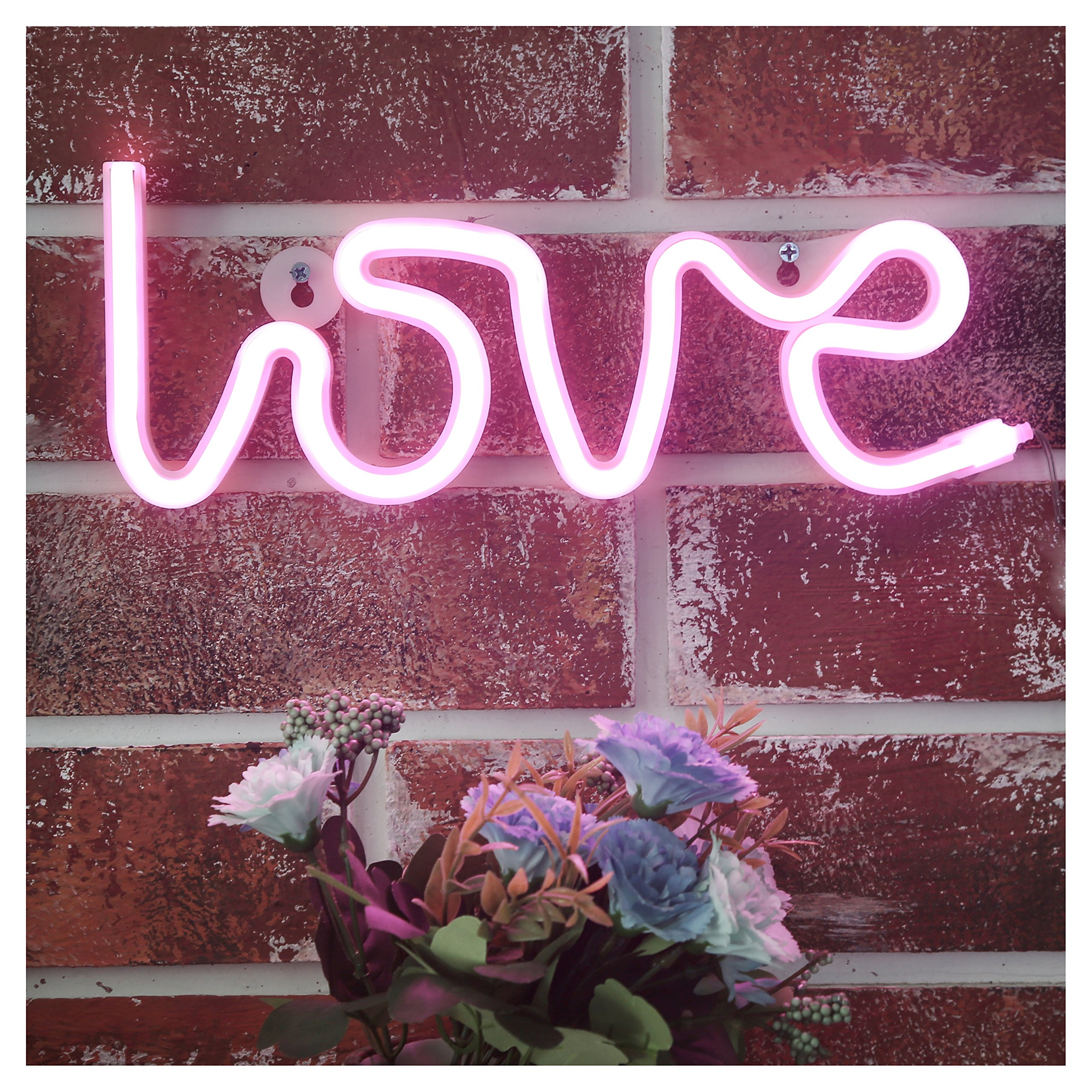 YiiY Neon Light Signs Pink Love Decor Light,Wall Decor for Chistmas,Kids Room,Wedding Party Decor, Bedroom, Pub,Valentine's Day